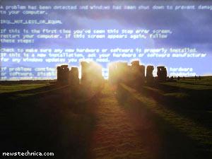 Blue screen of Stonehenge