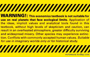 Economics textbook warning sticker
