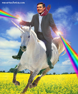 Gordon Brown riding a magical unicorn to victory