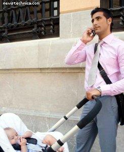 Businessman with stroller