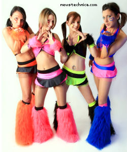 German raver girls in furry boots