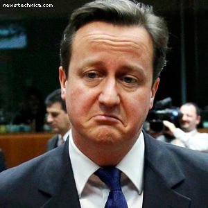 Sad David Cameron in snow