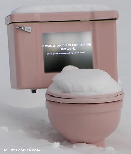 Sad toilet in snow