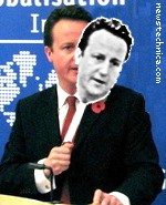 David Cameron with David Cameron mask