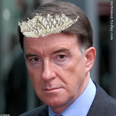Lord Mandelson in a fetching pearl tiara