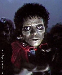 "Michael Jackson as a zombie in ""Thriller"""
