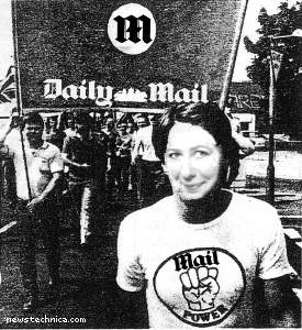 Jan Moir leading a Daily Mail Front rally in her youth