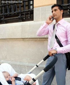 Businessman with stroller